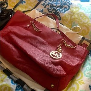 Logo RED Michael Kors leather tote